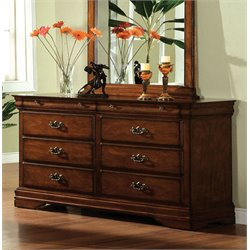 Furniture of America Wade 6 Drawer Dresser in Dark Oak