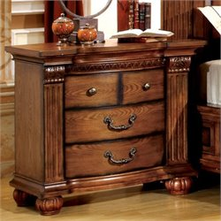 Furniture of America Mischa Nightstand in Antique Tobacco Oak