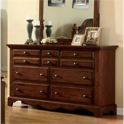 Furniture of America Fletcher 7 Drawer Dresser in Light Walnut