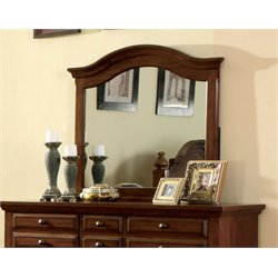 Furniture of America Fletcher Distressed Arched Mirror in Light Walnut