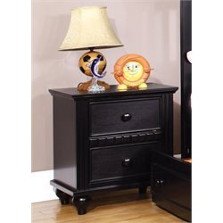 Furniture of America Dresden Etched Nightstand in Black