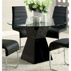 Furniture of America Dorazio Round Glass Top Dining Table in Black