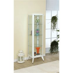 Furniture of America Elton 4 Shelf Curio Cabinet in White