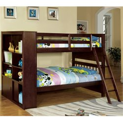 Furniture of America Minkle Bookshelf Bunk Bed in Dark Walnut