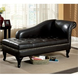 Furniture of America Demetria Storage Chaise in Black