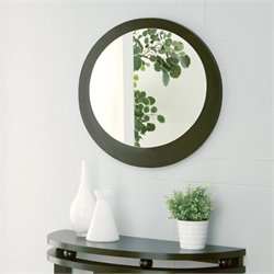 Furniture of America Torian Oval Mirror in Dark Espresso