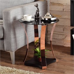 Furniture of America Vida Round End Table in Rose Gold