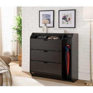 Furniture of America Corwin 3 Drawer Shoe Cabinet in Cappuccino