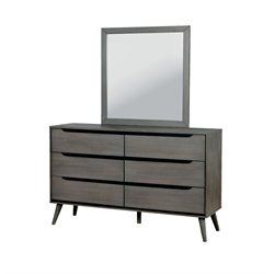 Furniture of America Farrah 6 Drawer Dresser Square Mirror Set in Gray