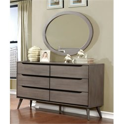 Furniture of America Farrah 6 Drawer Dresser Oval Mirror Set in Gray