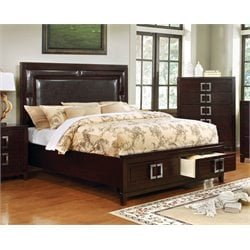 Furniture of America Dysin Panel California King  Bed in Brown Cherry
