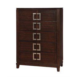 Furniture of America Dysin 5 Drawer Chest in Brown Cherry