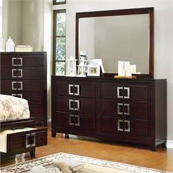Furniture of America Dysin Dresser and Mirror in Brown Cherry