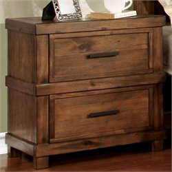 Furniture of America Cynthia 2 Drawer Nightstand in Antique Oak