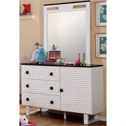 Furniture of America Solten Dresser and Mirror in White and Walnut