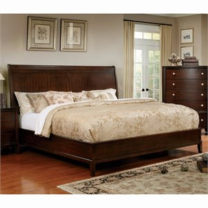 Furniture of America Monaco Transitional Panel Bed in Brown Cherry-SN