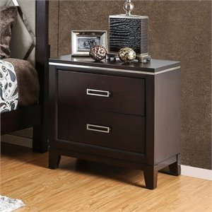 Furniture of America Caspien Modern 2 Drawer Nightstand in Cherry