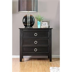 Furniture of America Mardon 3 Drawer Nightstand in Wire-Brushed Black
