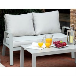 Furniture of America Werner Contemporary Patio Loveseat in Gray
