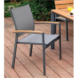 Furniture of America Trevis Patio Dining Chair in Oak and Gray