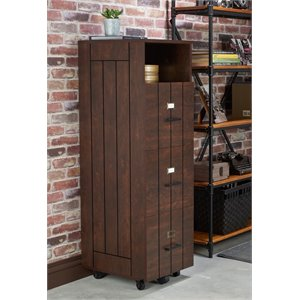 Furniture of America Thelo Industrial Filing Cabinet in Vintage Walnut