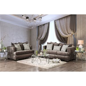 Furniture of America Kiefer Transitional Sofa in Silver