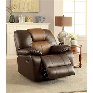 Furniture of America Aberdeen Recliner in Dark and Light Brown