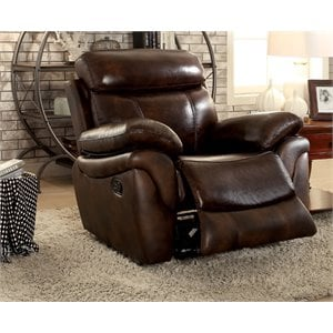 Furniture of America Roberto Recliner Chair in Brown