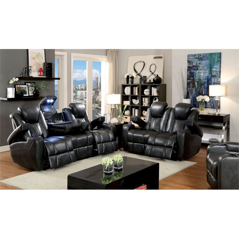 Furniture of America Lam Faux Leather Reclining Sofa in Dark Gray