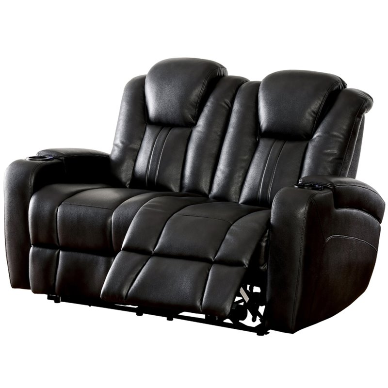 Sensational Furniture Of America Lam Faux Leather Reclining Loveseat In Dark Gray Alphanode Cool Chair Designs And Ideas Alphanodeonline