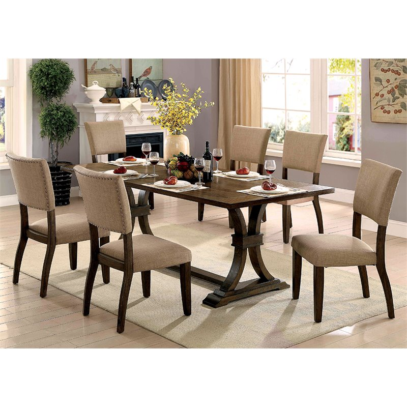 Furniture Of America Norbu 7 Piece Extendable Dining Set In Rustic Oak