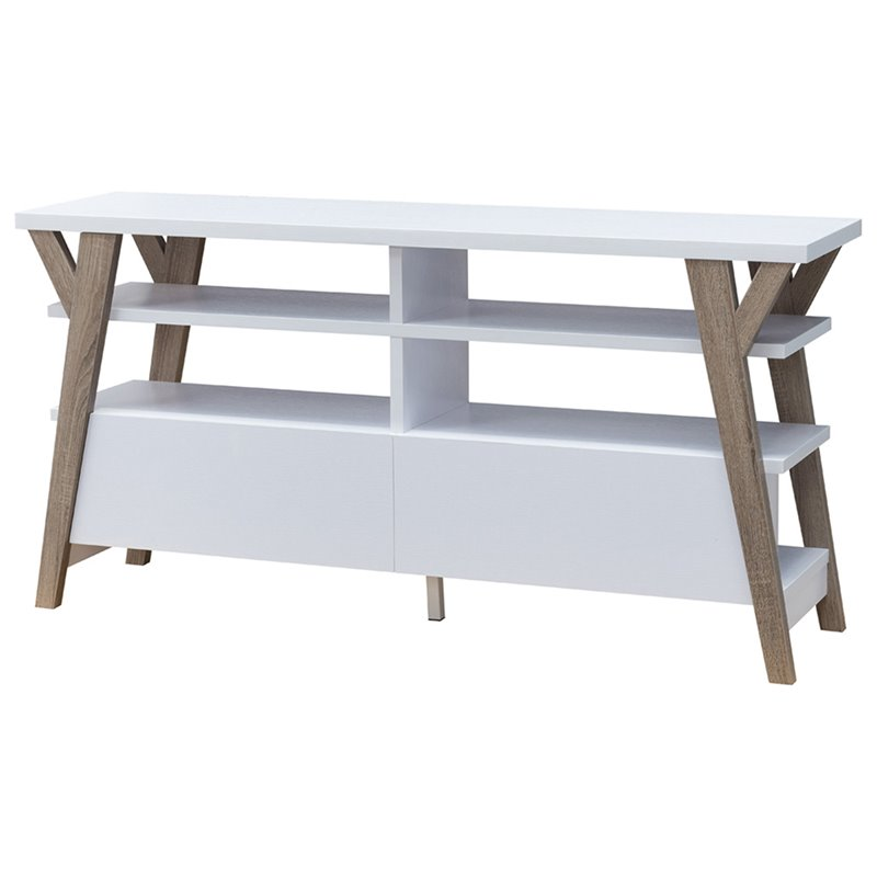 Furniture of America Zellus Buffet in White and Distressed Taupe and White