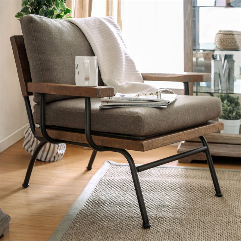 Magnificent Furniture Of America Colette Rustic Metal Legs Accent Chair In Natural Gmtry Best Dining Table And Chair Ideas Images Gmtryco