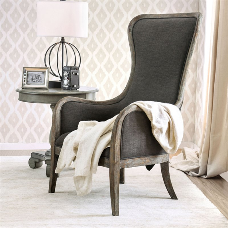 Prime Furniture Of America Danza Rustic High Back Accent Chair In Gray Gmtry Best Dining Table And Chair Ideas Images Gmtryco