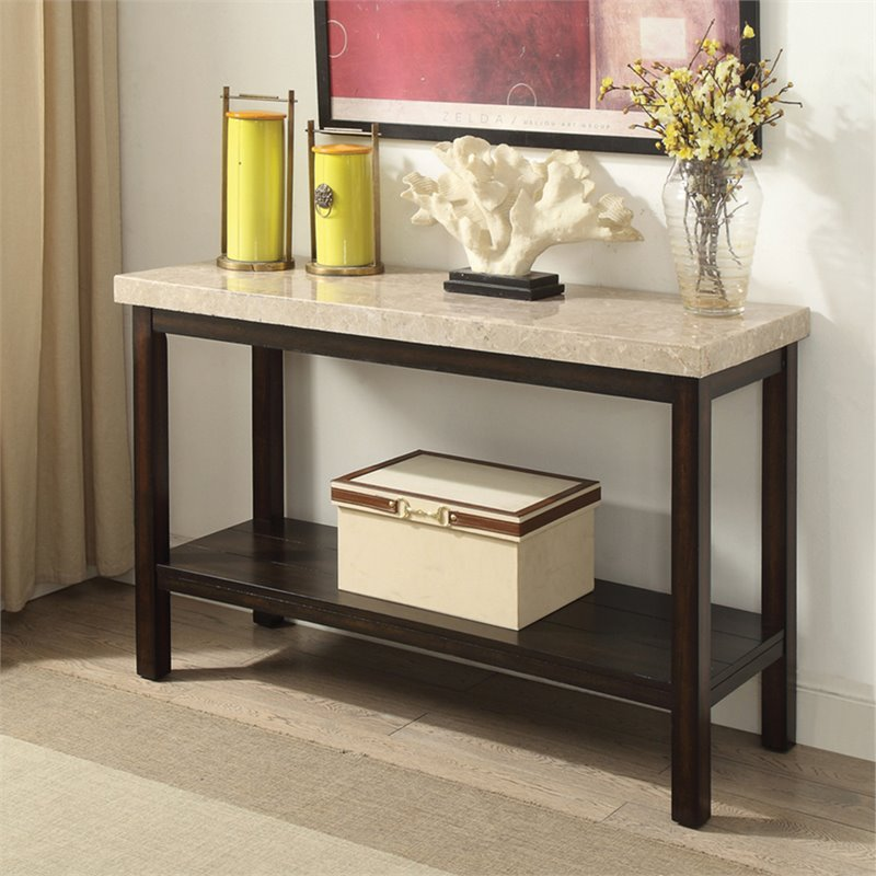 Furniture Of America Ozzi Marble Top Console Table In Dark Walnut