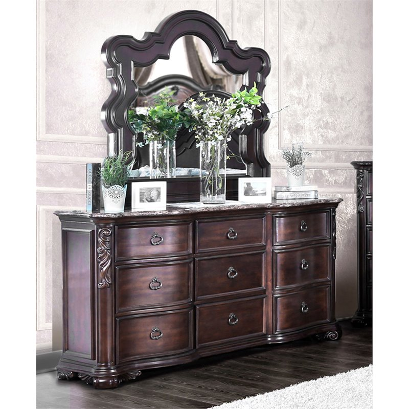 Furniture Of America Troy 9 Drawer Marble Top Dresser And Mirror Set