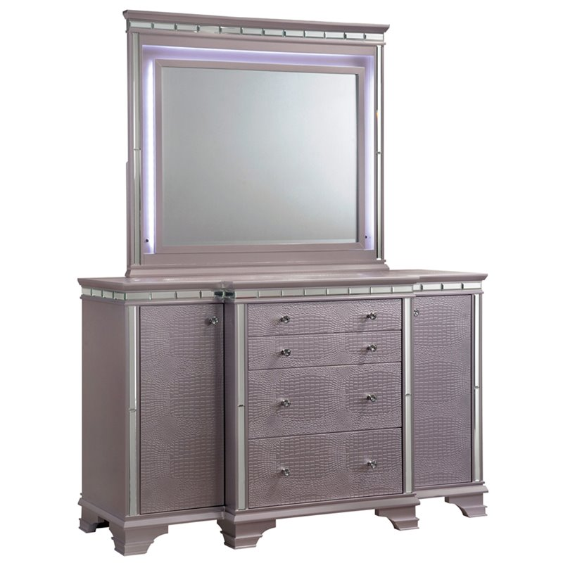 Beau Furniture Of America Greta 2 Door 4 Drawer Dresser And Mirror Set