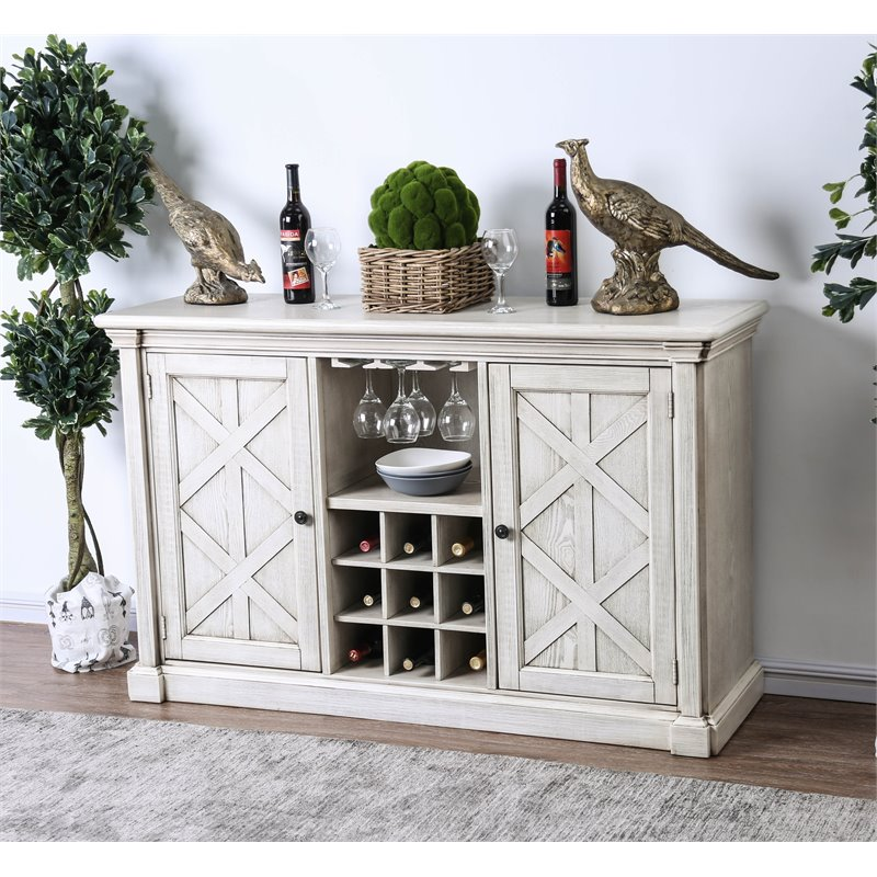 Furniture of America Cassie Wine Rack Buffet in Antique White