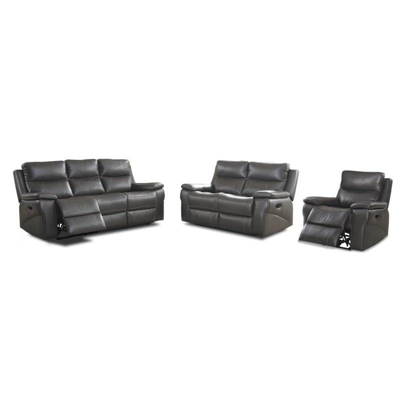 Furniture of America Soron Modern Leather 3-Piece Sofa Recliner in Gray