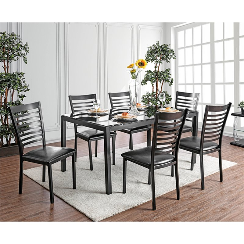 Merveilleux Furniture Of America Torrance 7 Piece Glass Top Dining Set In Black