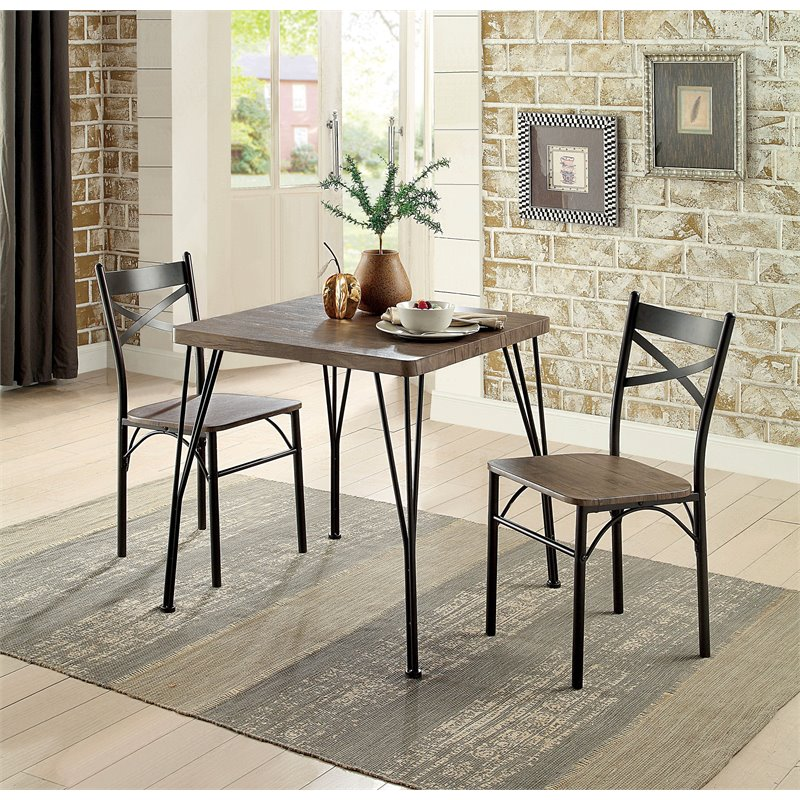 Furniture of America Kelle 3-Piece Dining Set in Antique Brown