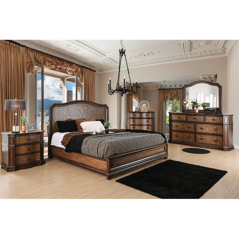 Furniture of America Zed 2-Piece Queen Panel Bed and Mattress Set