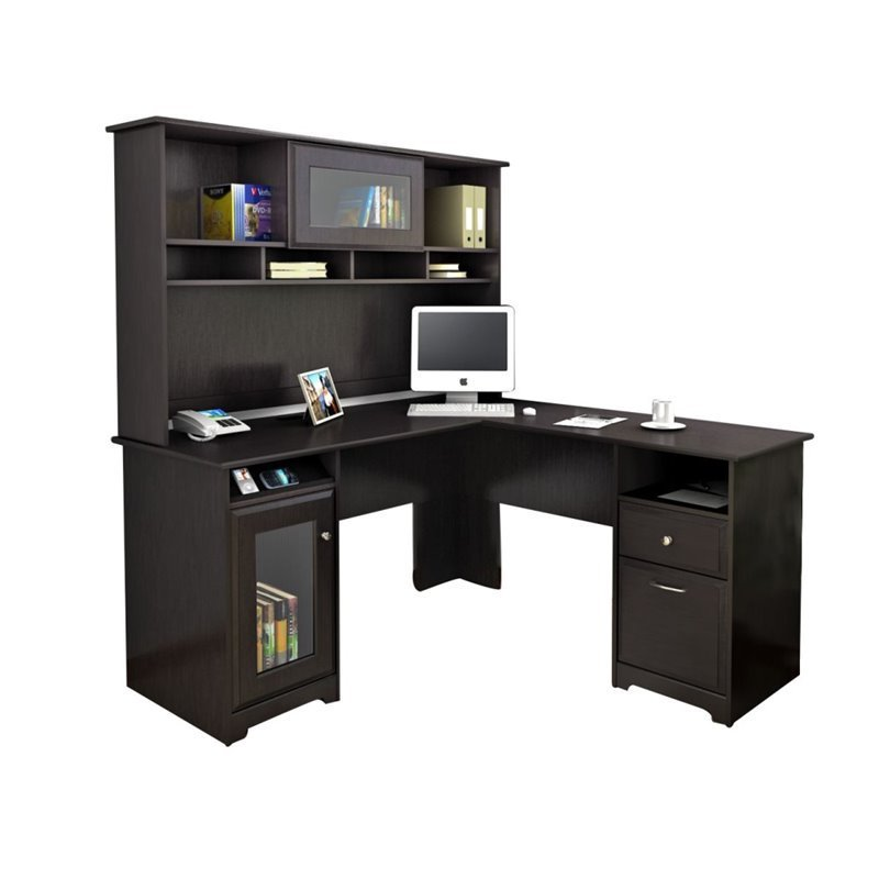 Trent Home Highcroft L Shaped Computer Desk With Hutch In