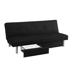 Trent Home Luna Convertible Sofa with Storage in Black