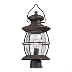 Elk Lighting Village Lantern Outdoor Post Light in Weathered Charcoal