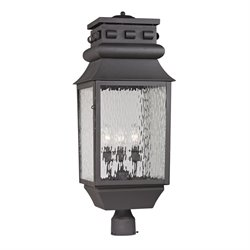 Elk Lighting Forged Lancaster 3 Light Outdoor Post Light in Charcoal
