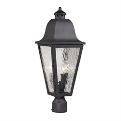 Elk Lighting Forged Brookridge 3 Light Outdoor Post Light in Charcoal