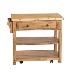 Sunny Designs Sedona Butcher Block Kitchen Cart in Rustic Oak