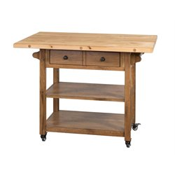 Sunny Designs Sedona Butcher Block Table Kitchen Cart in Rustic Oak