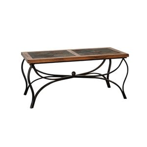 Sunny Designs Sedona Slate Metal Coffee Table in Rustic Oak